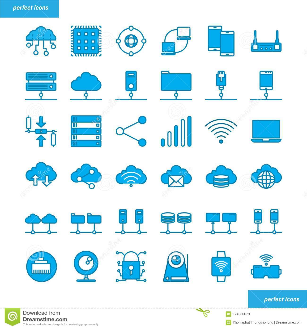 Computer Networks And Database Blue Icons Set Stock Vector