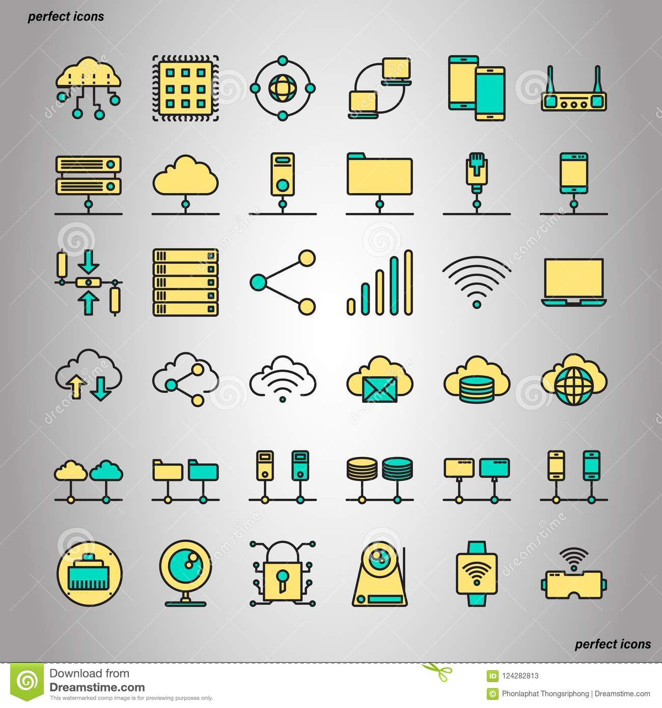 Computer Networks And Database Color Line Icons Stock Vector
