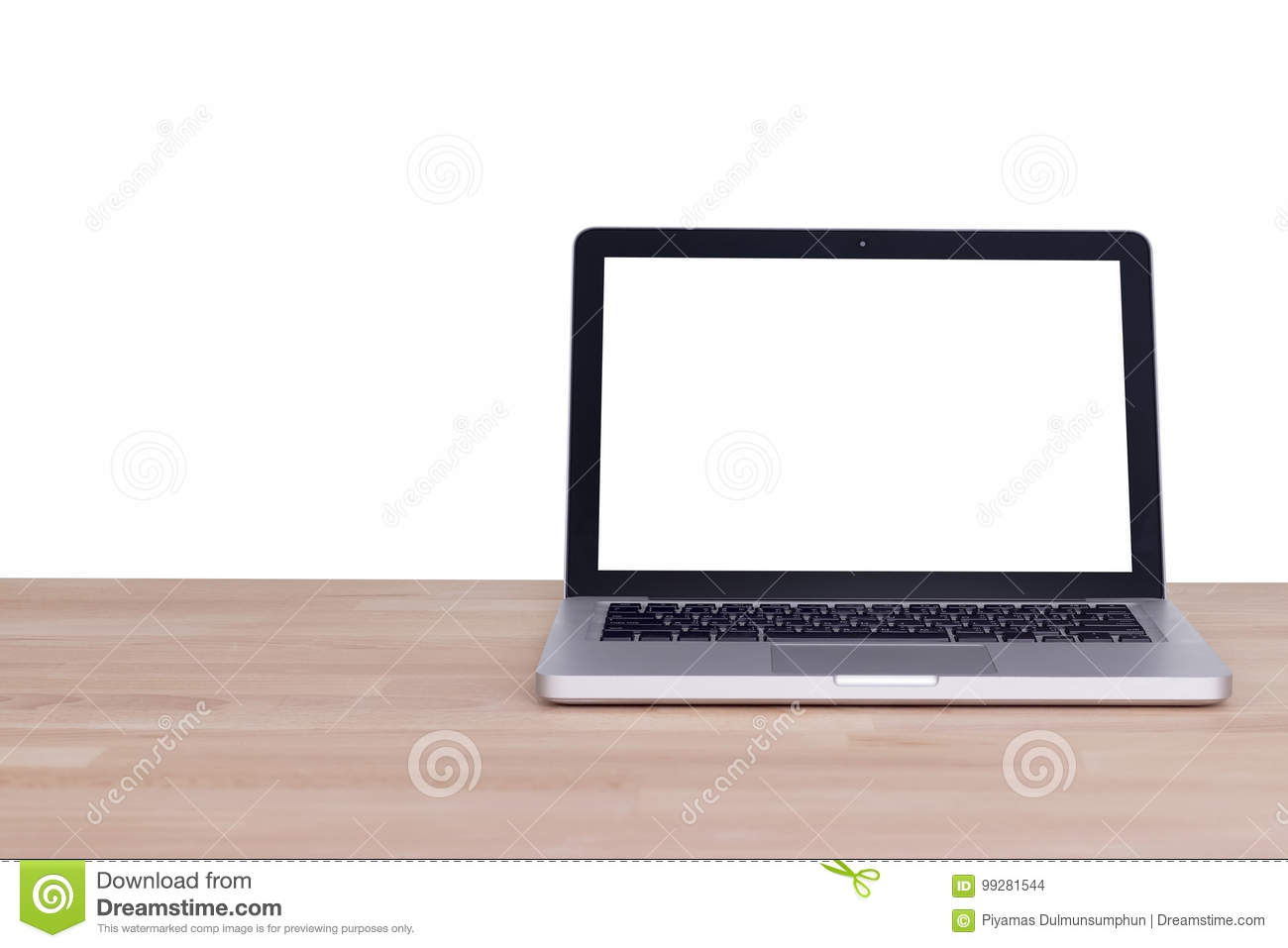 Computer notebook laptop with blank white screen monitor on wood
