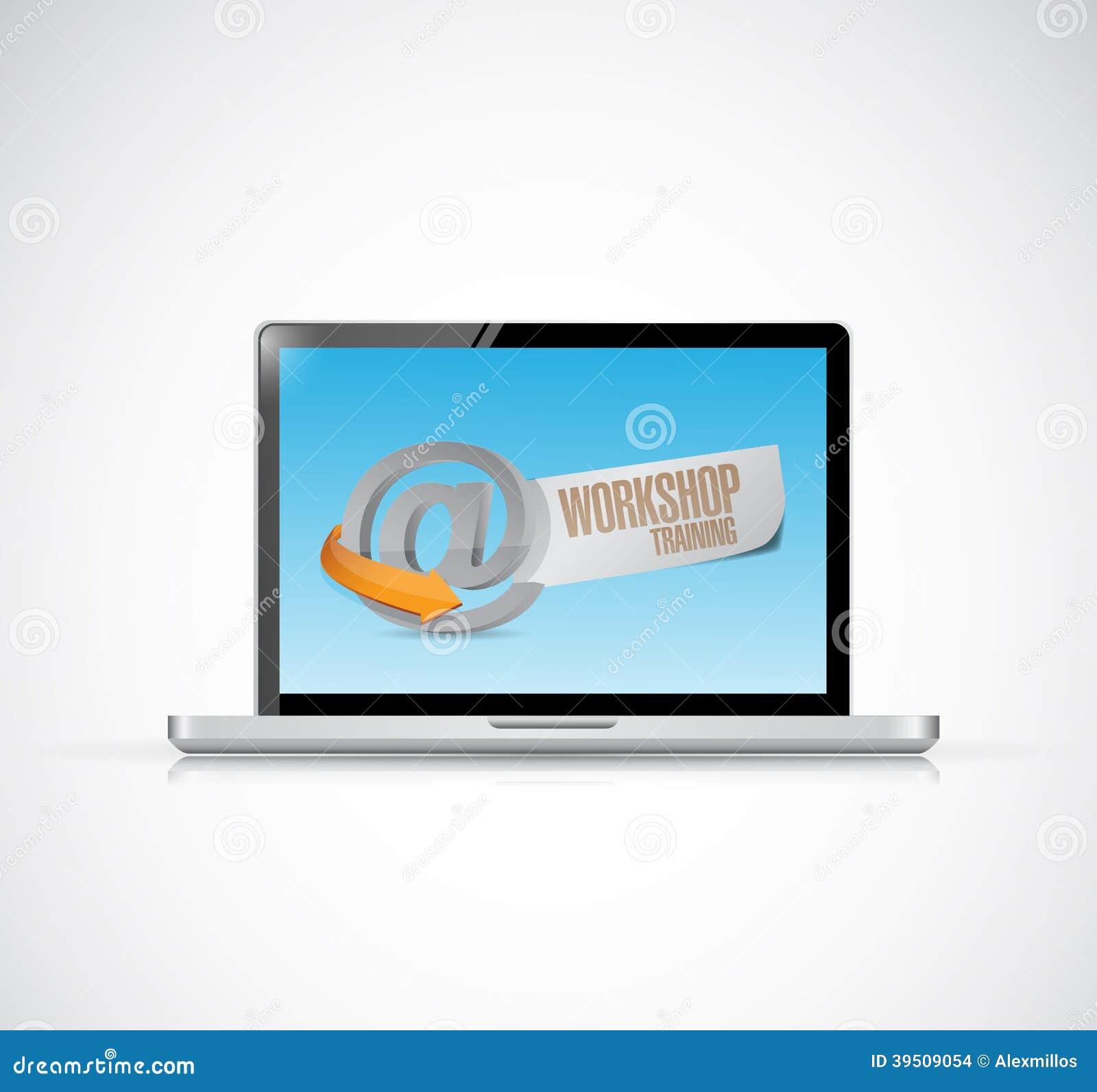 Computer online workshop training illustration