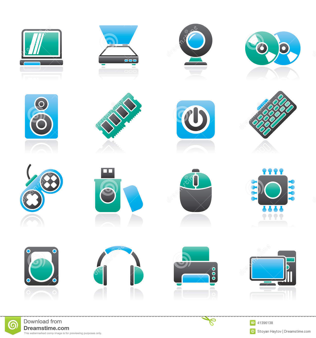 Computer Parts And Devices Icons Stock Vector - Image: 41396138