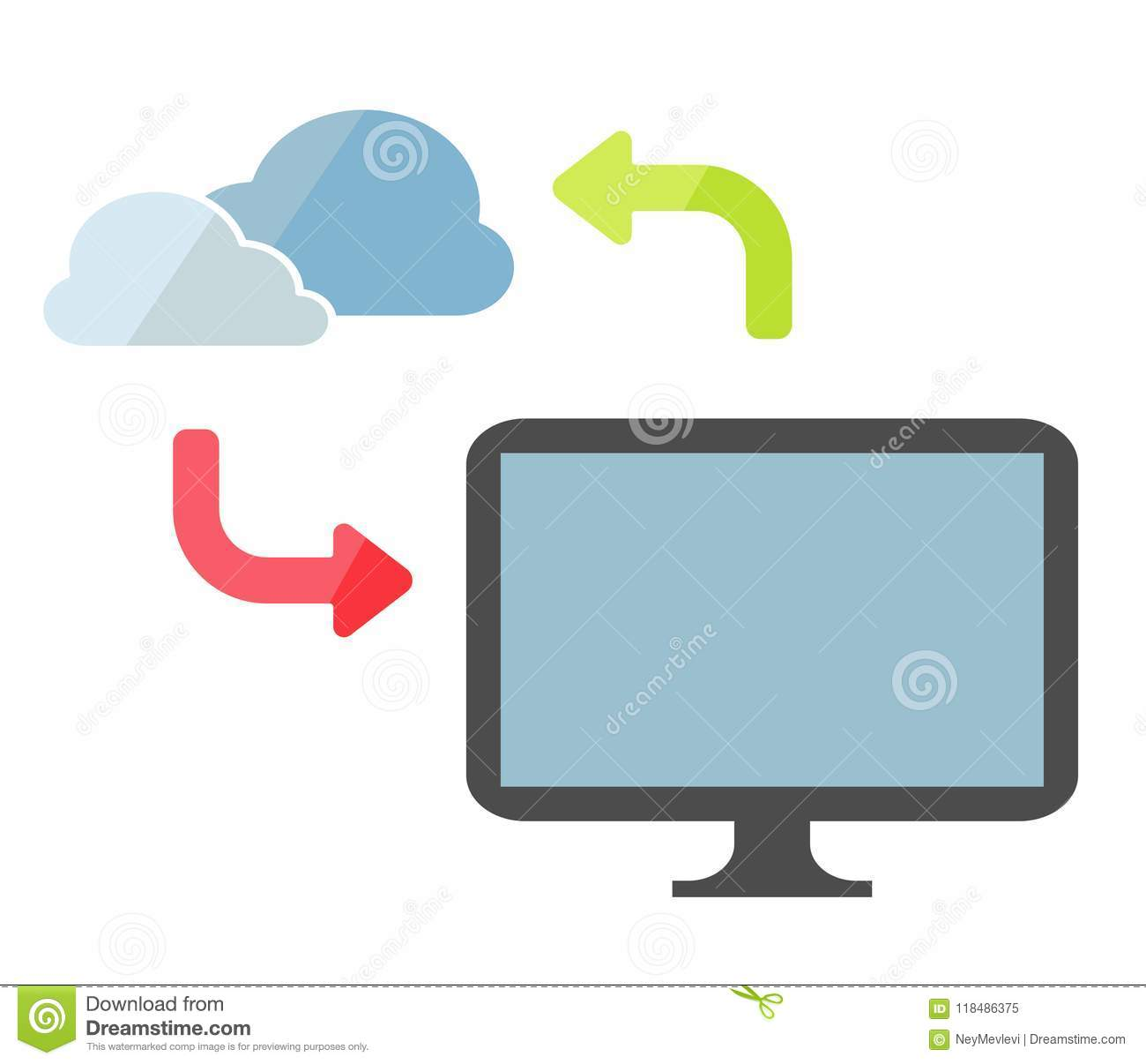 Computer or pc or notebook and online cloud storage