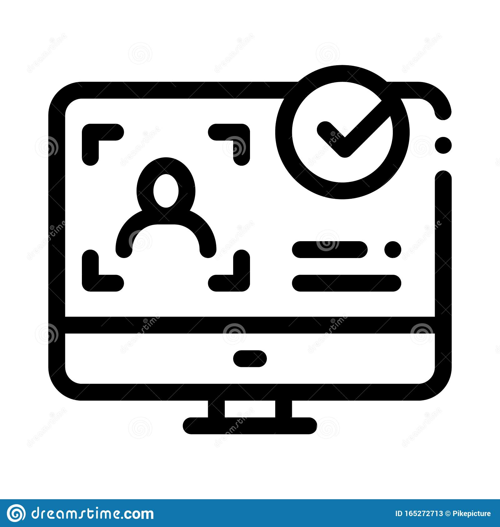 computer person identity icon vector outline illustration stock vector illustration of black lined 165272713 dreamstime com