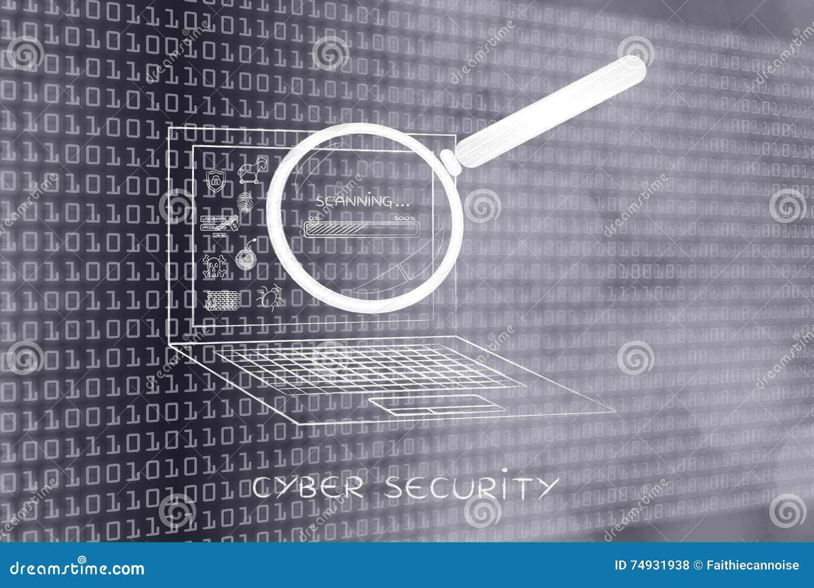 Computer portatile analizzato dalla lente d ingrandimento, ricerca di antivirus (sedere di progresso