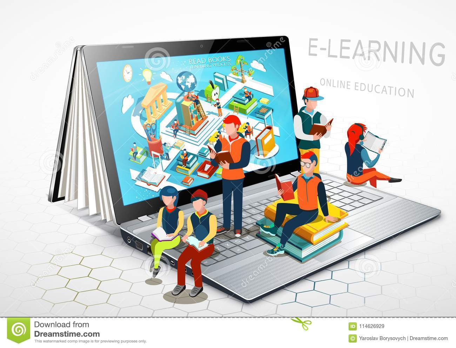 Computer portatile come libro Il concetto di apprendimento Formazione in linea Vettore