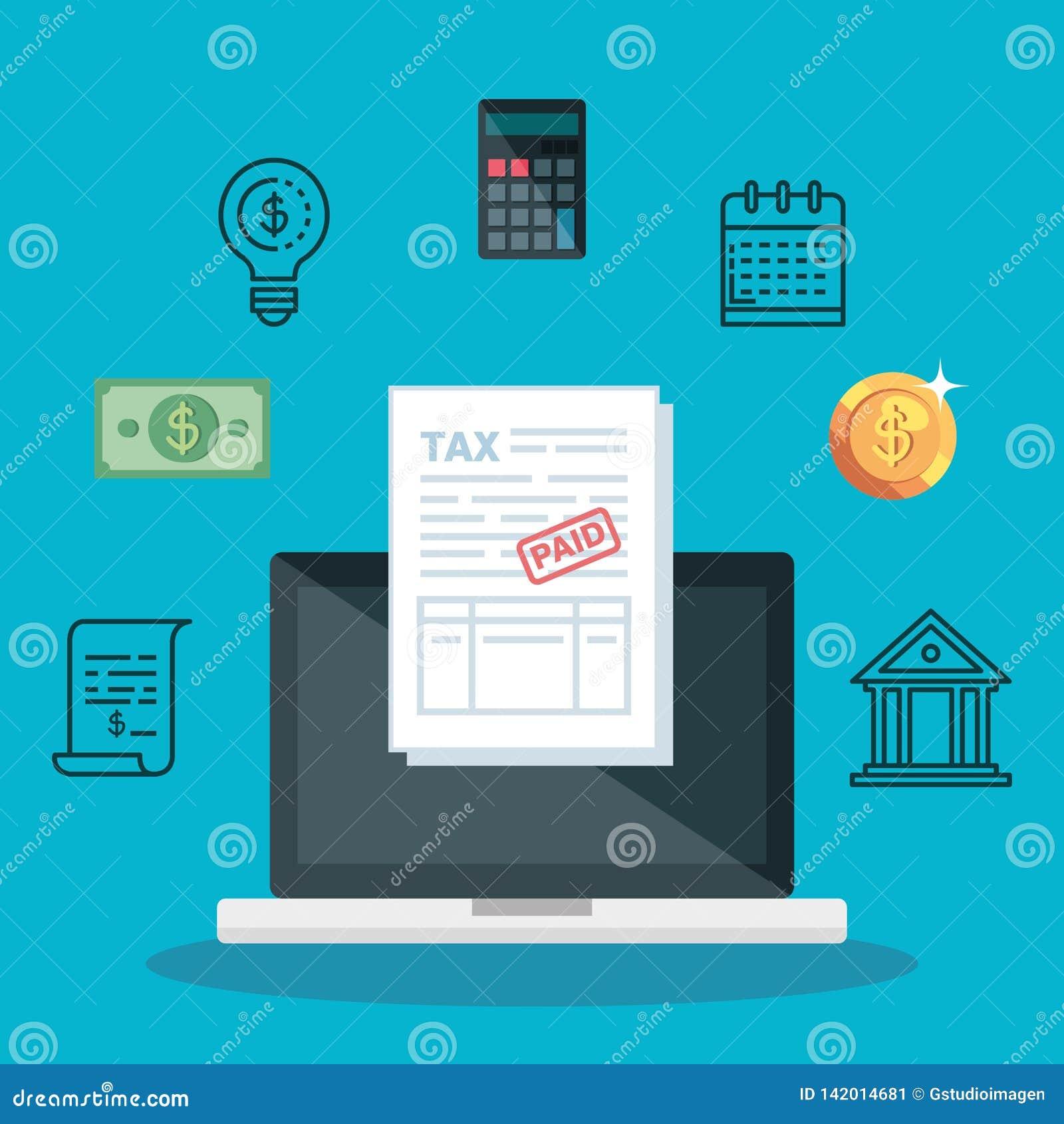 Computer portatile con il rapporto ed il calcolatore di imposta di servizio