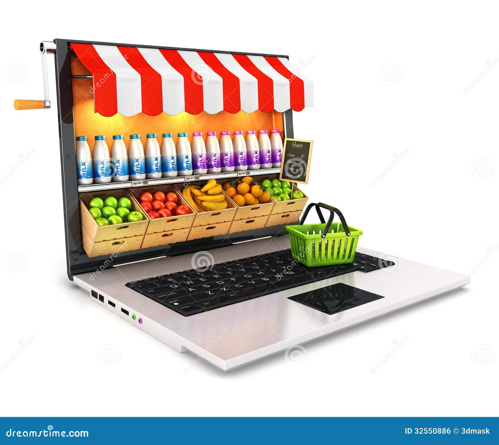 Computer portatile del supermercato 3d