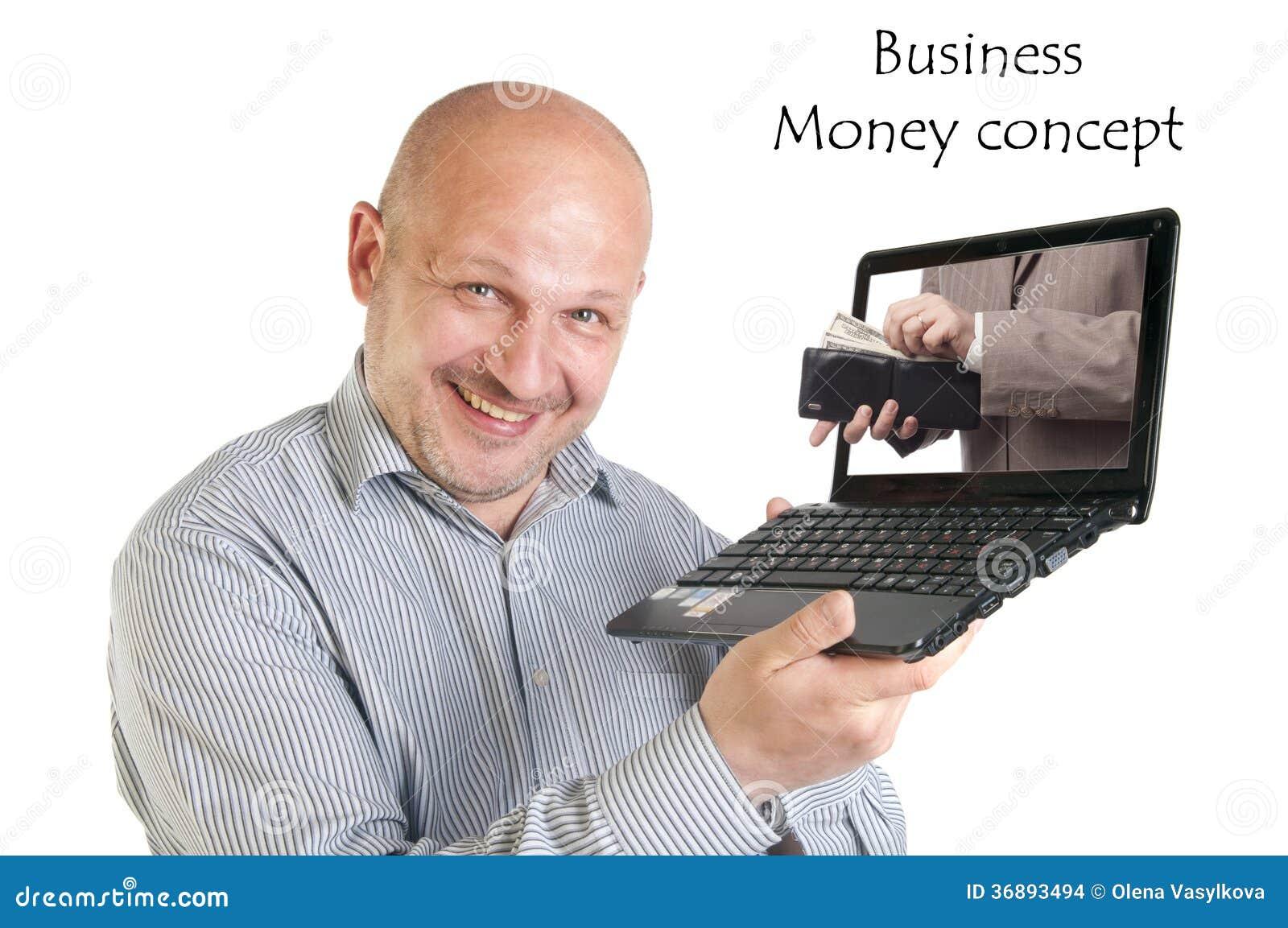 Download Computer Portatile Della Tenuta Dell'uomo D'affari Su Fondo Bianco. Fotografia Stock - Immagine di sporgenza, fattura: 36893494