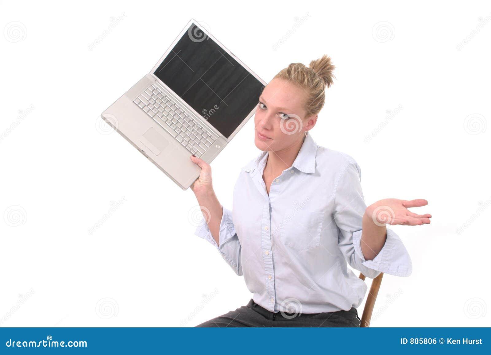 Computer portatile di lancio 3 della donna di affari