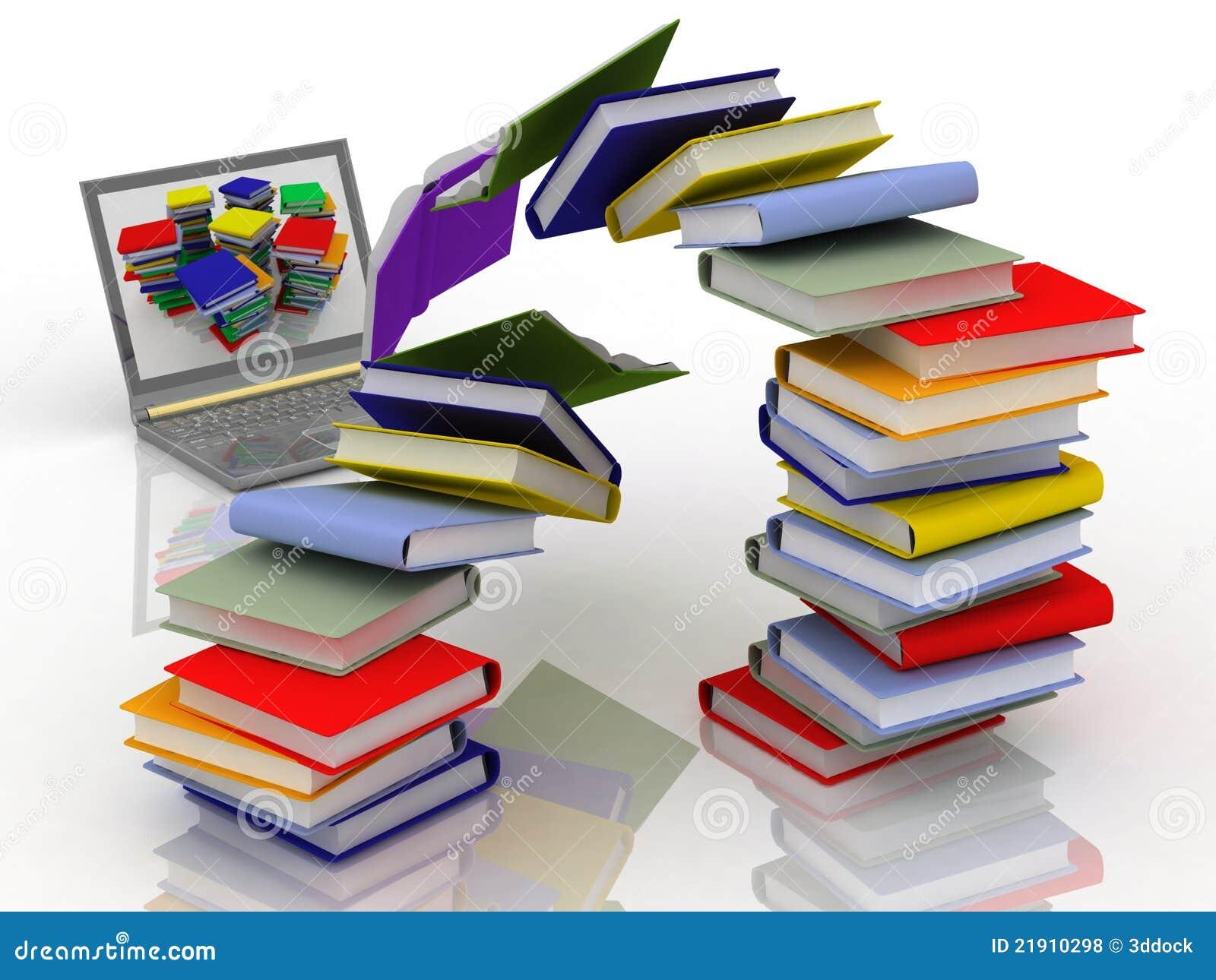 Computer portatile e libri di mosca fotografie stock for Libri internet