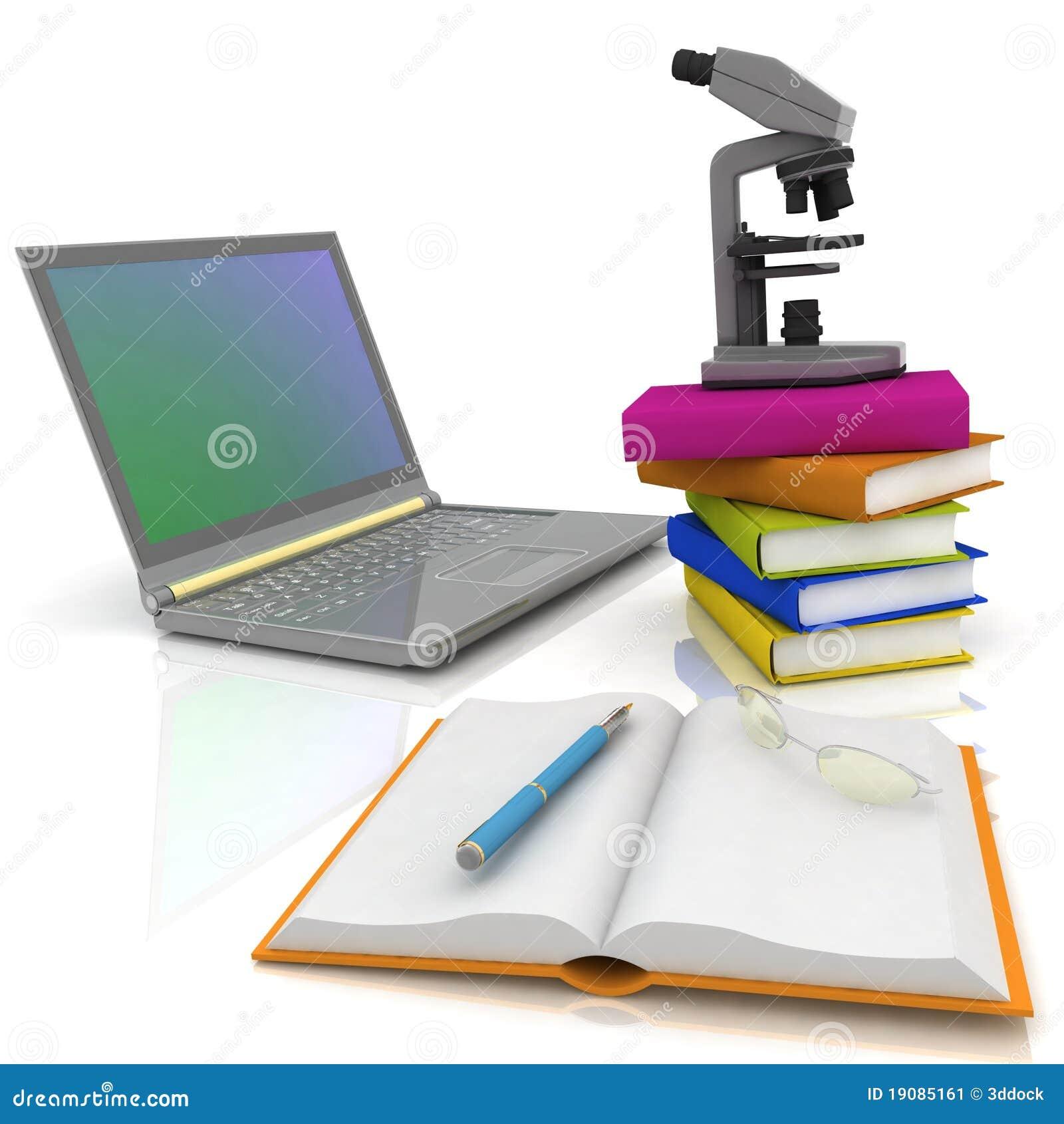 Computer portatile microscopio e libri illustrazione di for Libri internet