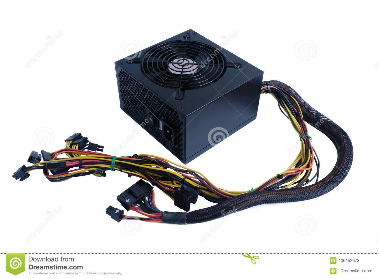 Computer power supply black color with cables unit for pc computer