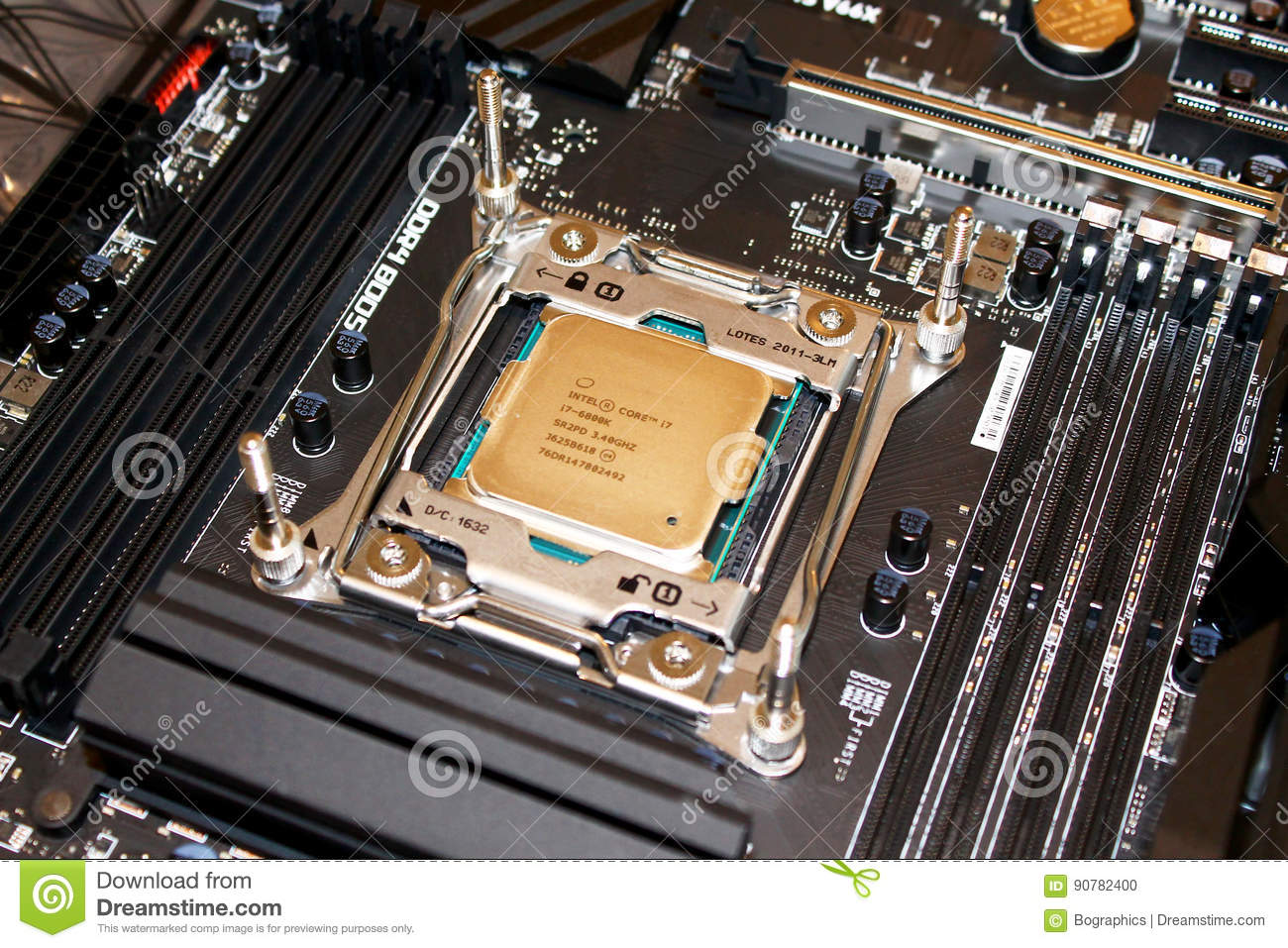 Computer processor installed on motherboard