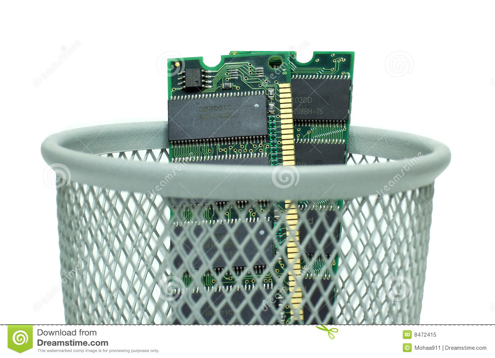 Computer RAM im Abfalleimer