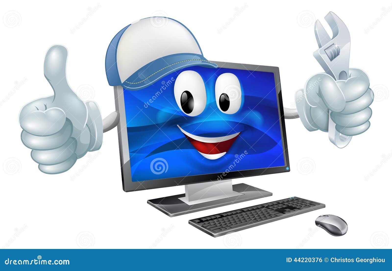 Computer Repair Cartoon Character Stock Vector Image