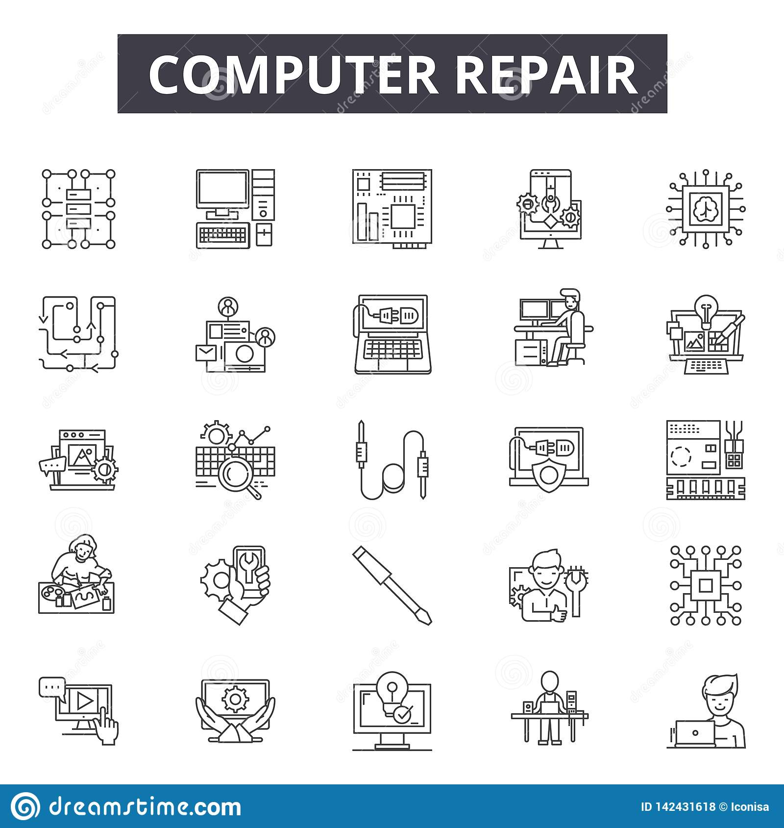 Computer repair line icons for web and mobile design. Editable stroke signs. Computer repair outline concept