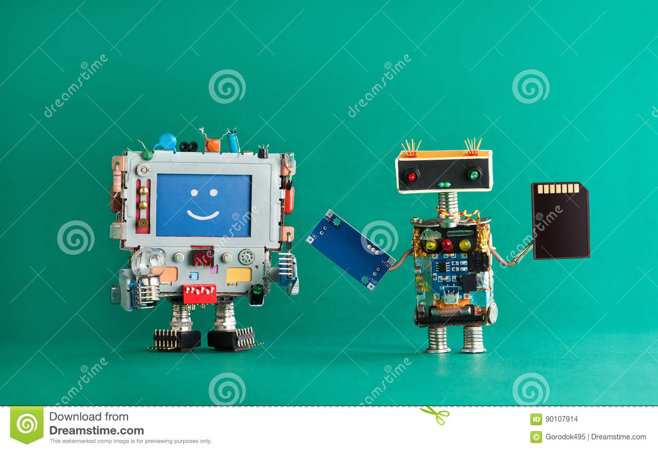 Computer repair renovation concept. Smiling monitor machine, robot serviceman with chip circuit storage memory card