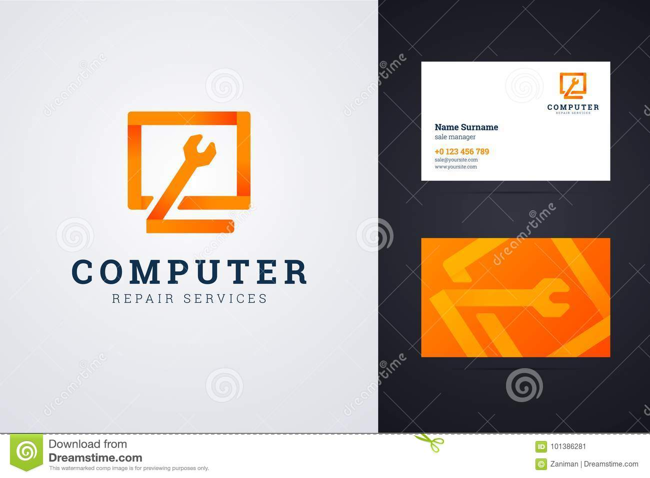 Computer repair service logo and business card template stock vector computer repair service logo and business card template wajeb Image collections