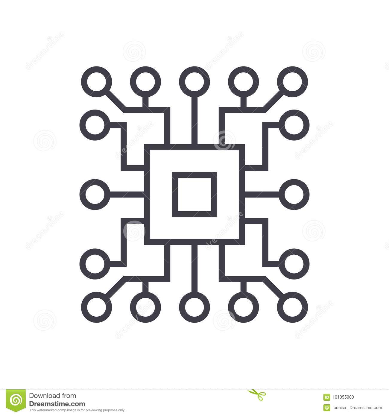 computer science circuit vector line icon  sign  illustration on background  editable strokes