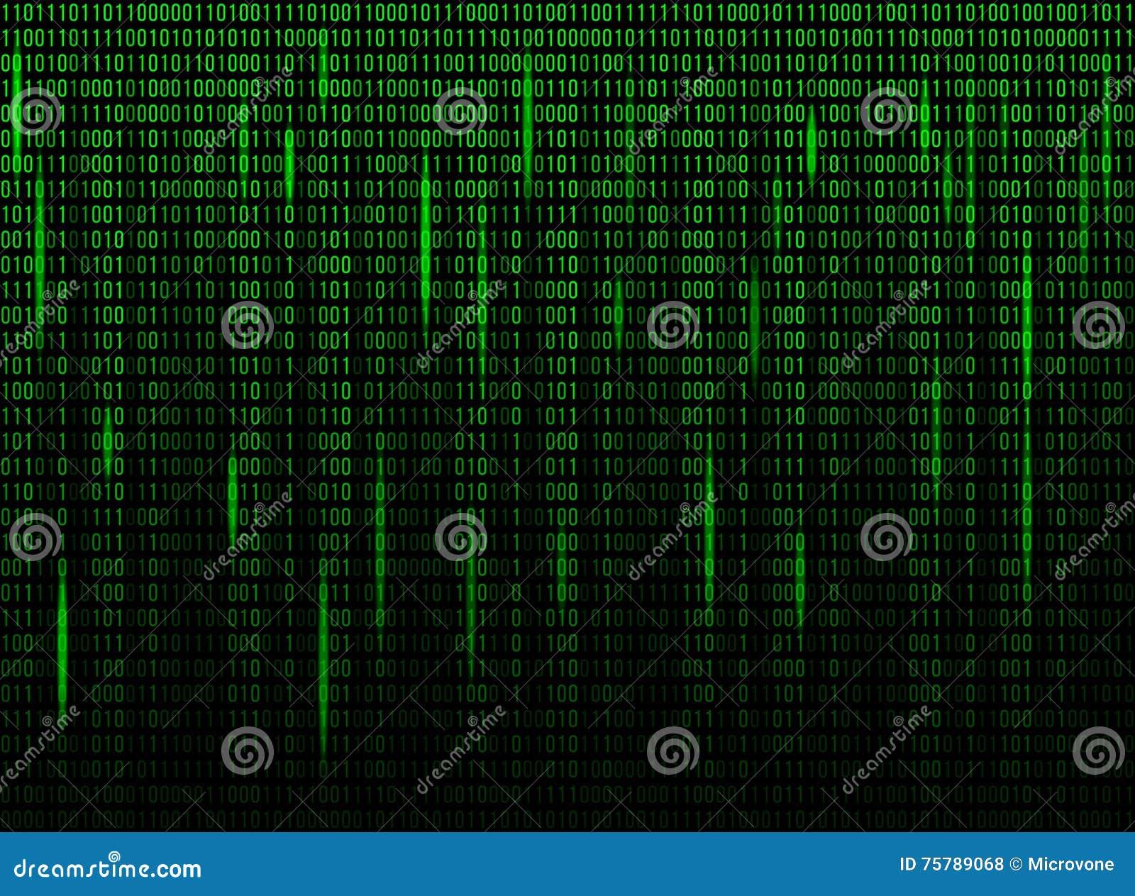 Computer Screen Binary Data Code Stock Vector - Illustration of ...