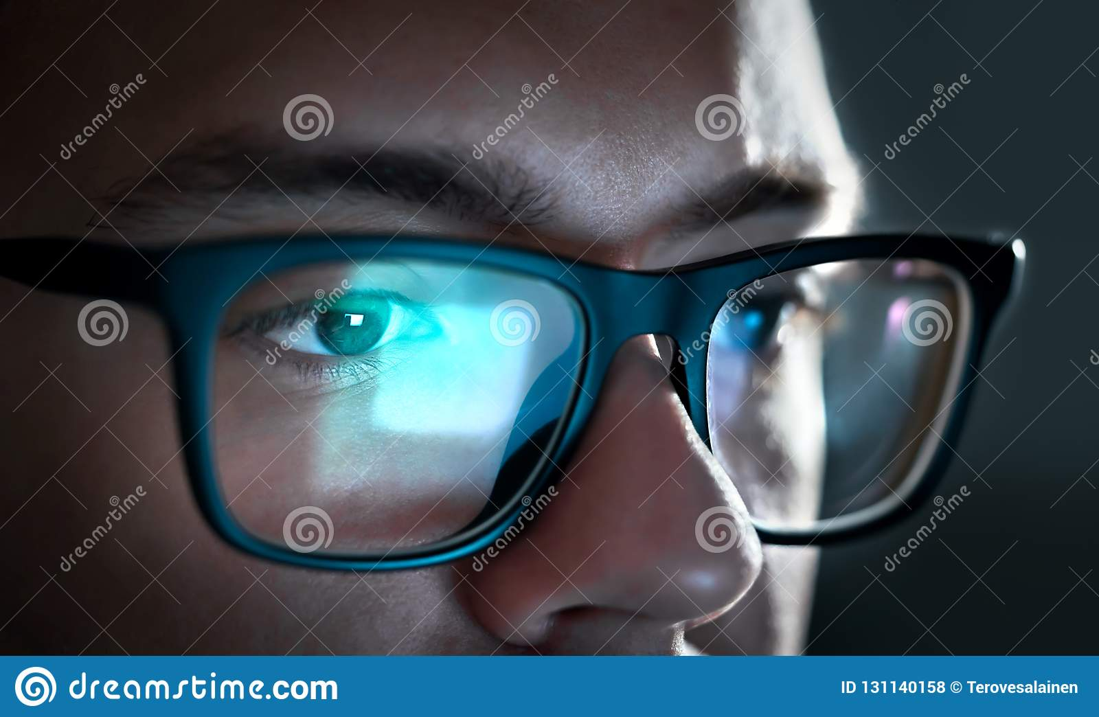 655bd9895b0 Computer Screen Light Reflect From Glasses. Close Up Of Eyes. Stock ...