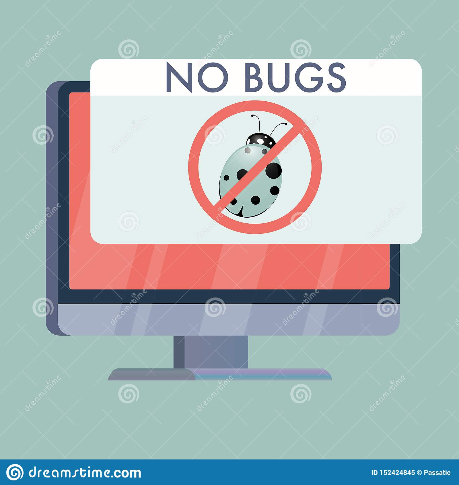 computer screen with no bugs sign flat