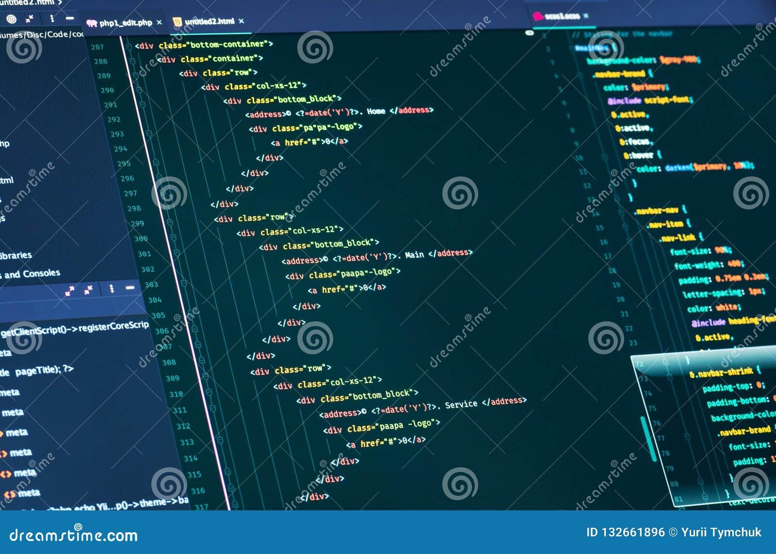 Computer script code. Lines of html and css code, closeup. Web Design and Web development