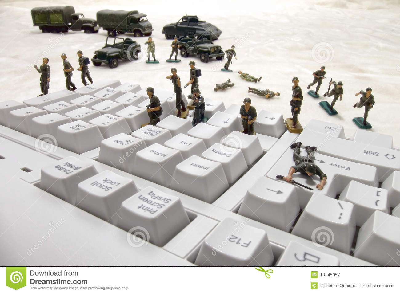 Computer Security Cyber Attack By Toy Soldiers Royalty