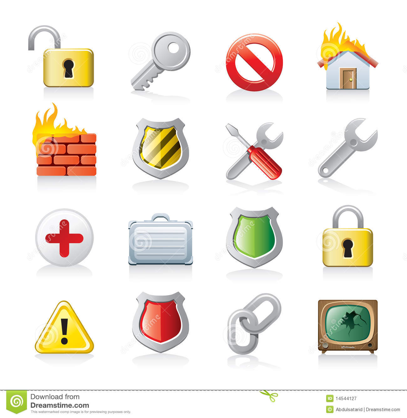 Computer security icon set stock vector. Image of firewall ...