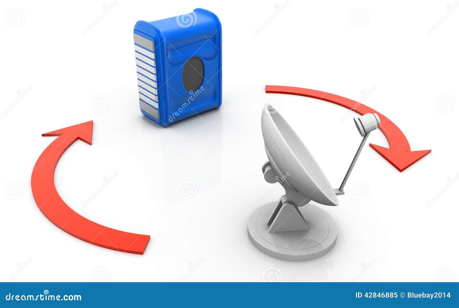 Computer Server connected via satellite dish
