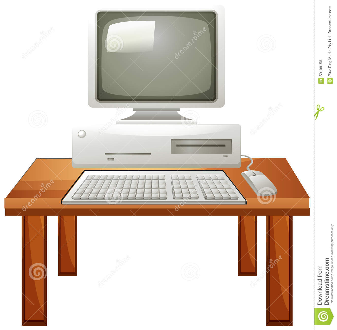 Computer set on the table  sc 1 st  Dreamstime.com & Computer set on the table stock vector. Illustration of mouse - 59108153