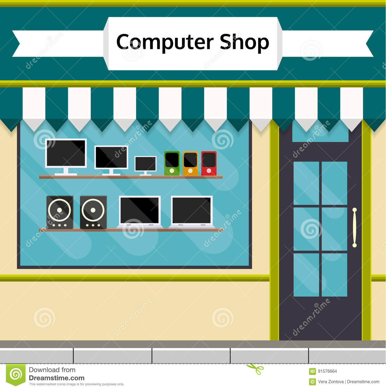 Computer Shop Front With Glass Vitrine Stock Vector  # Vitrine D Angle Moderne Design