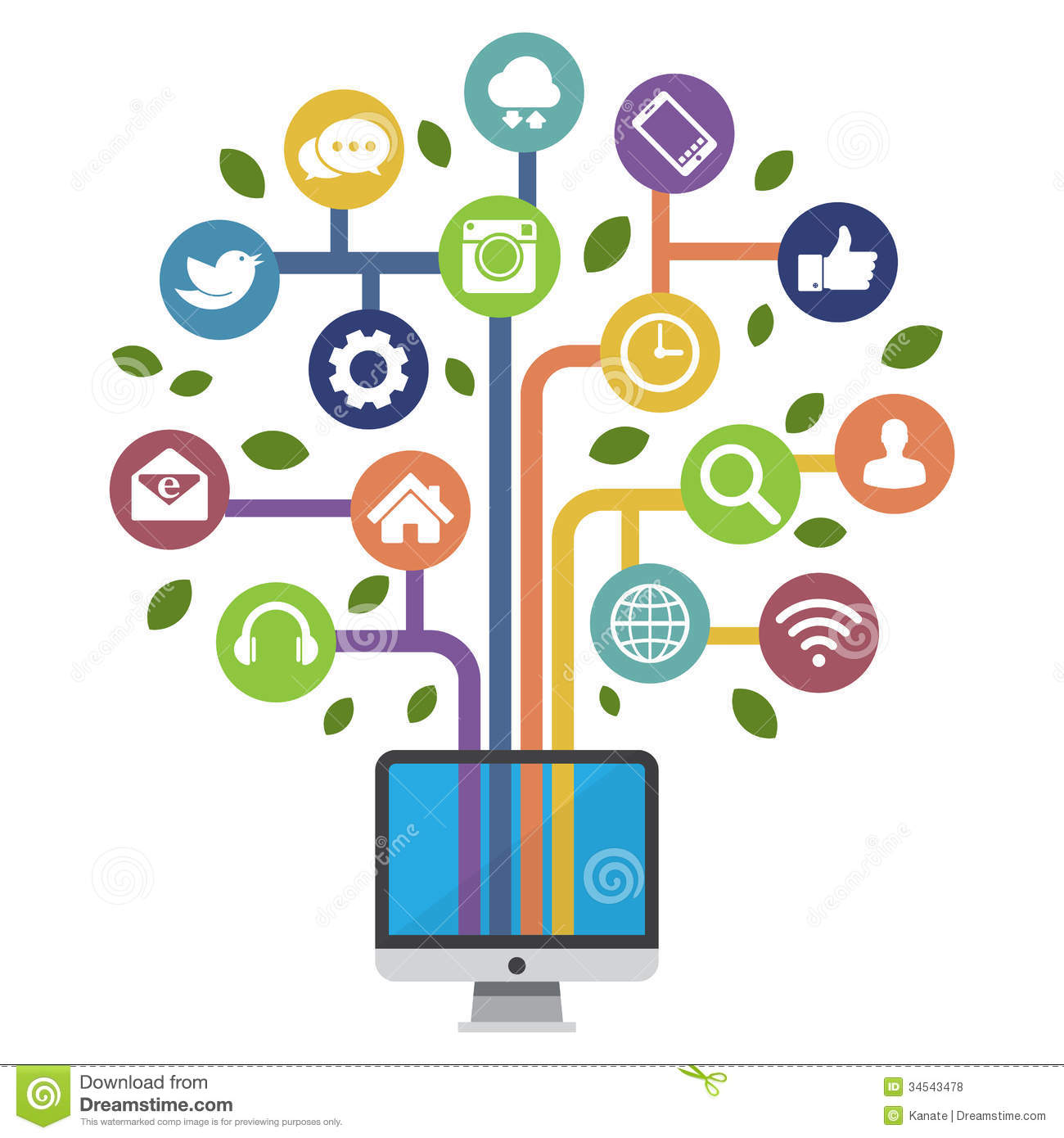 Computer With Social Media Icons Stock Vector Image