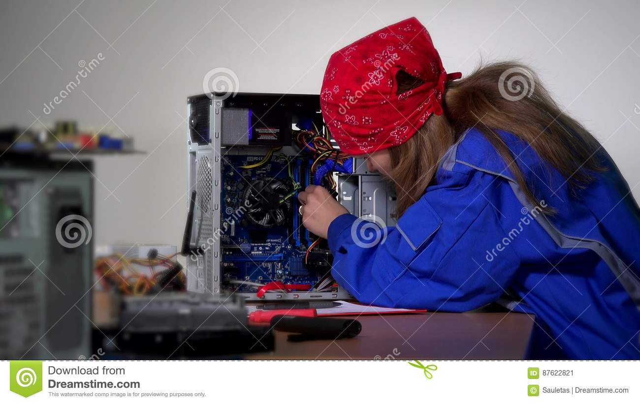 Computer Specialist Woman Install Ram Memory To Stationary Computer