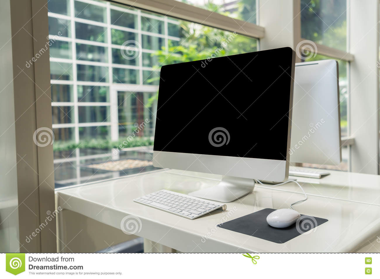 Computer on table in office, Workspace .