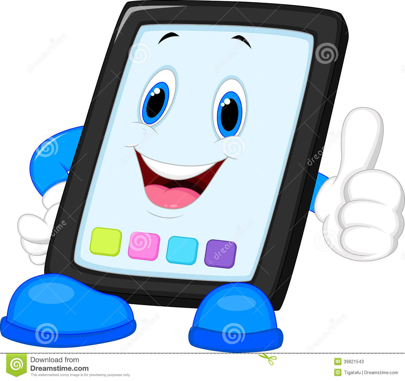 Computer Tablet Cartoon Giving Thumb Up Stock Vector ...