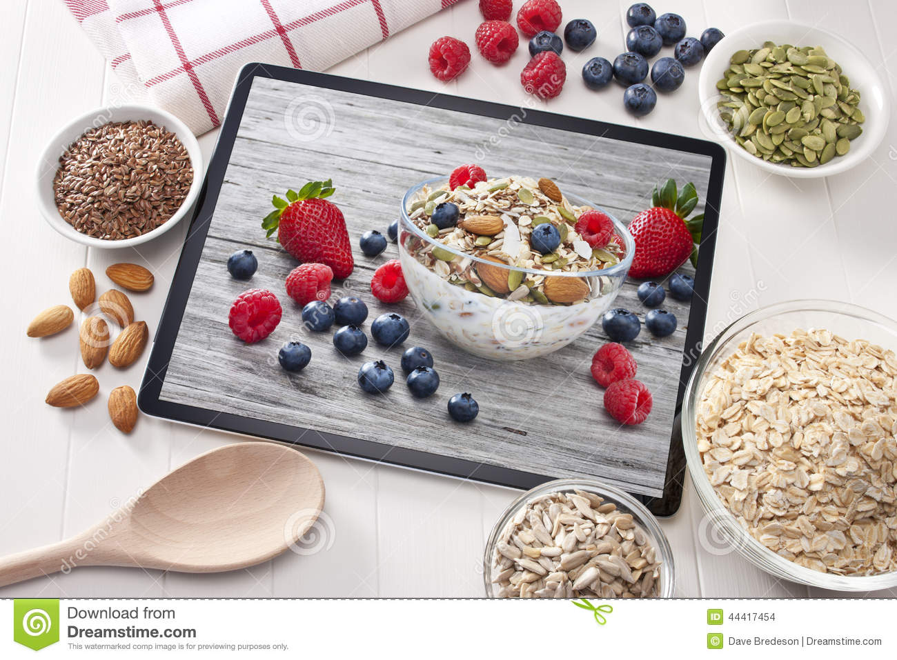 Download Computer Tablet Cereal Berries Nuts Grains Breakfast Stock Photo - Image of breakfast, bowl: 44417454