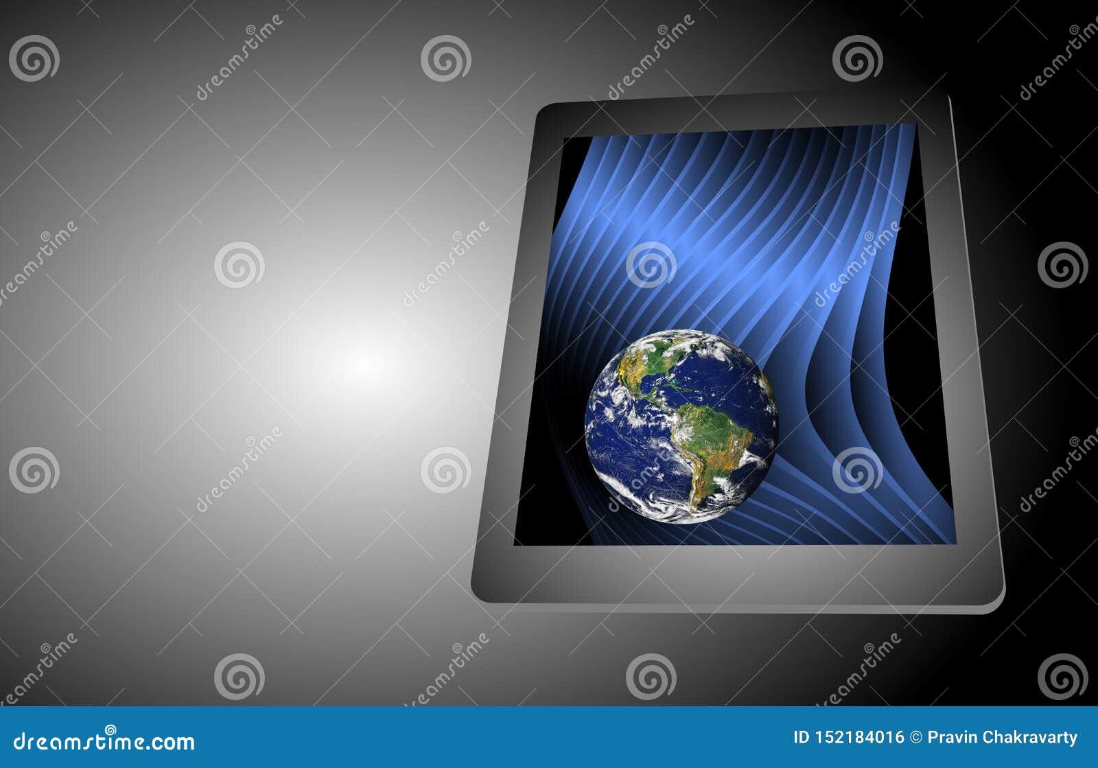 Computer-Tablet-Technologie-Erde Smartphone Handy