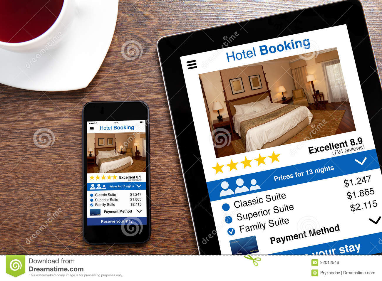 Computer Tablet And Touch Phone With App Hotel Booking Screen Stock - Table booking app