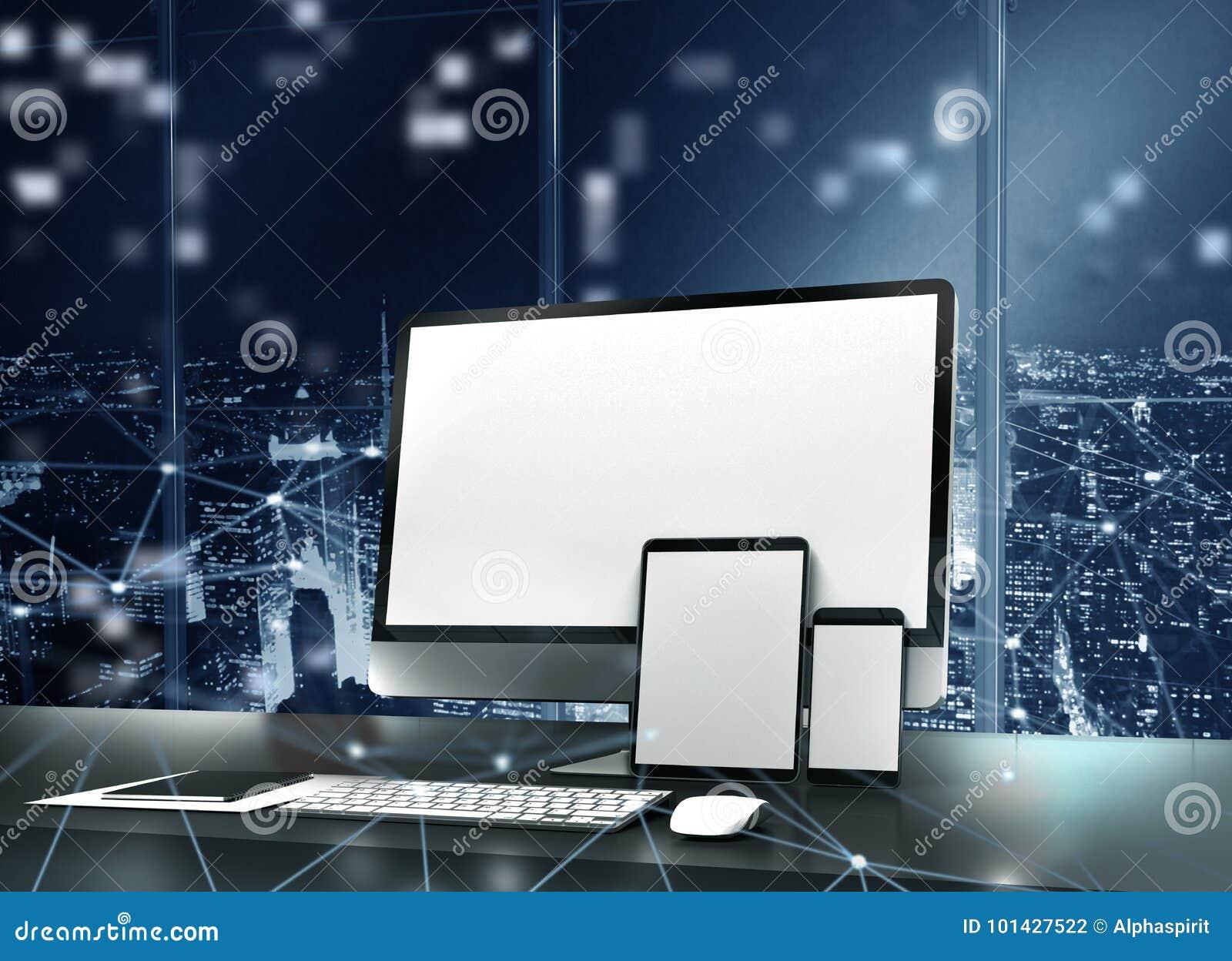 Computer, Tablette und smartpone schlossen an Internet an Konzept des Internets