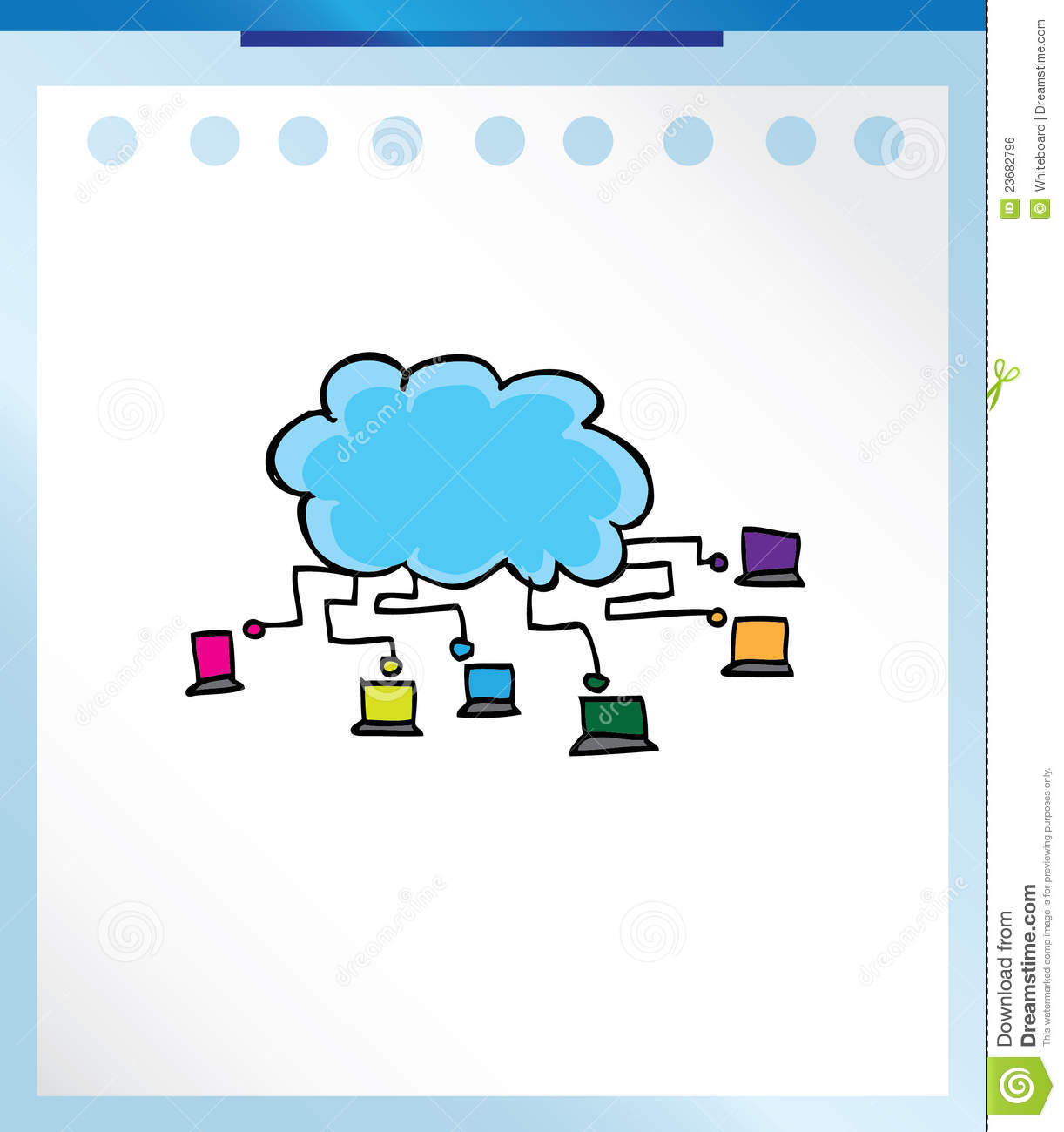cartoon technology computer doodle computing keyboard business royalty preview cloud
