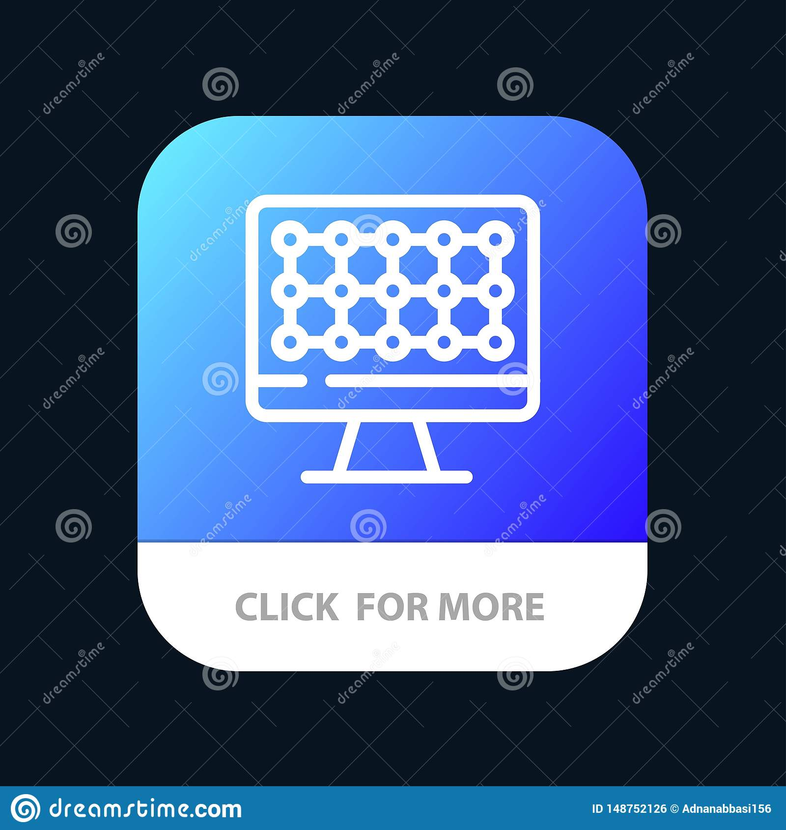 Computer, Technology, Hardware Mobile App Button. Android and IOS Line Version