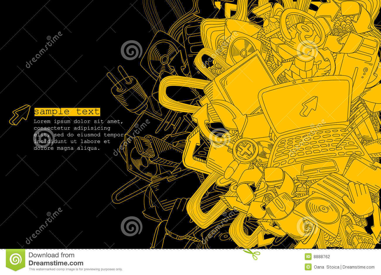 Computer Theme- Line Drawing- Vector Stock Photos - Image: 9462343