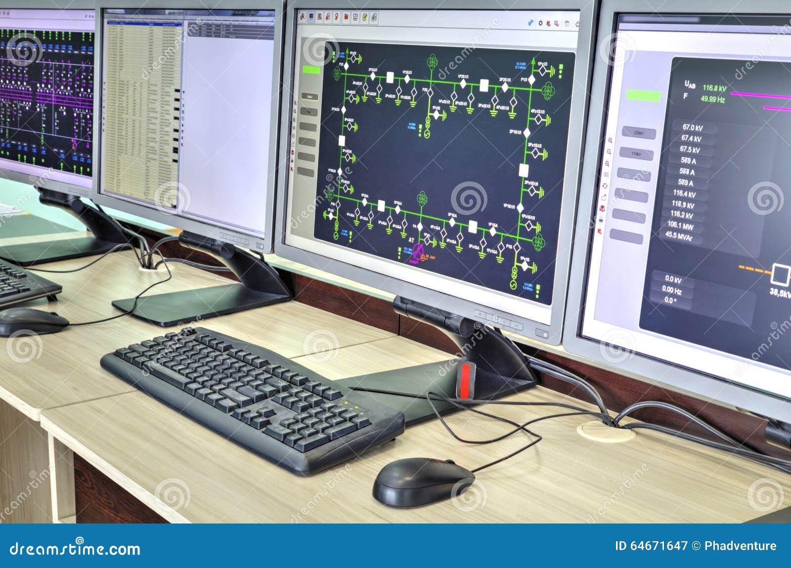 Computer Und Monitoren Mit Schematischem Diagramm Für Überwachungs ...