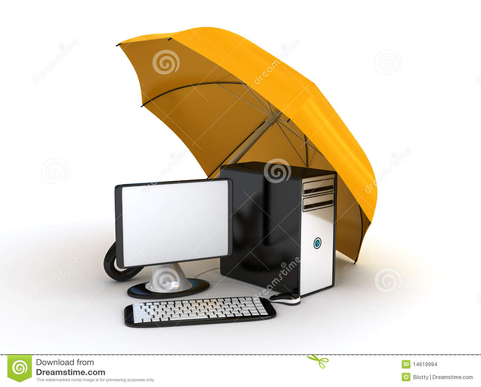 Computer Under Umbrella Stock Images Image 14619994
