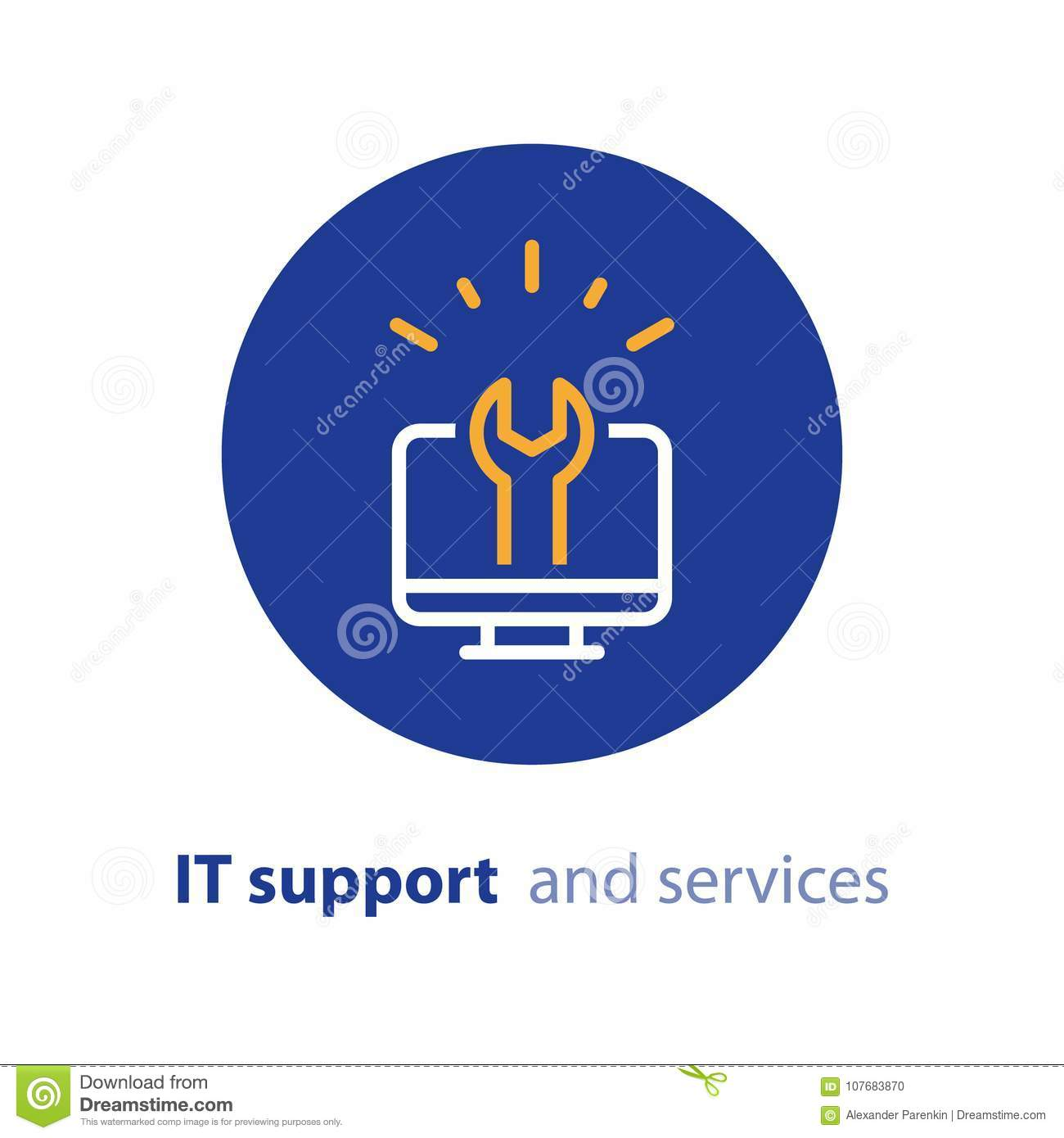 Computer Upgrade System Update Software Installation Repair Services IT Support Line Icon