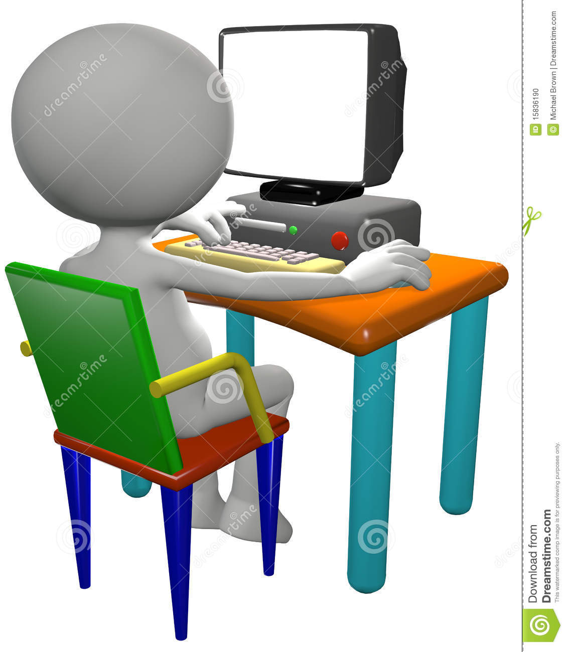 Cartoon 3D PC user works on a computer desk, useful background copy