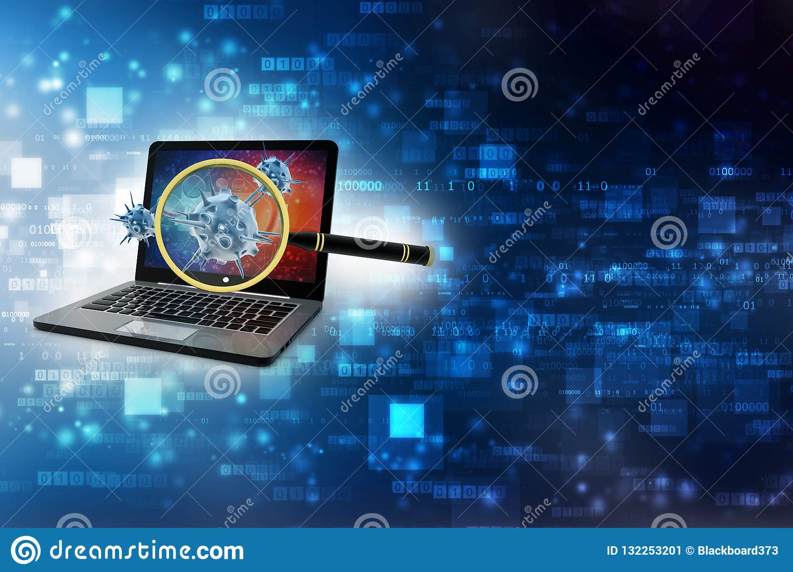 Virus Detection, Magnifying Glass Scanning Virus With