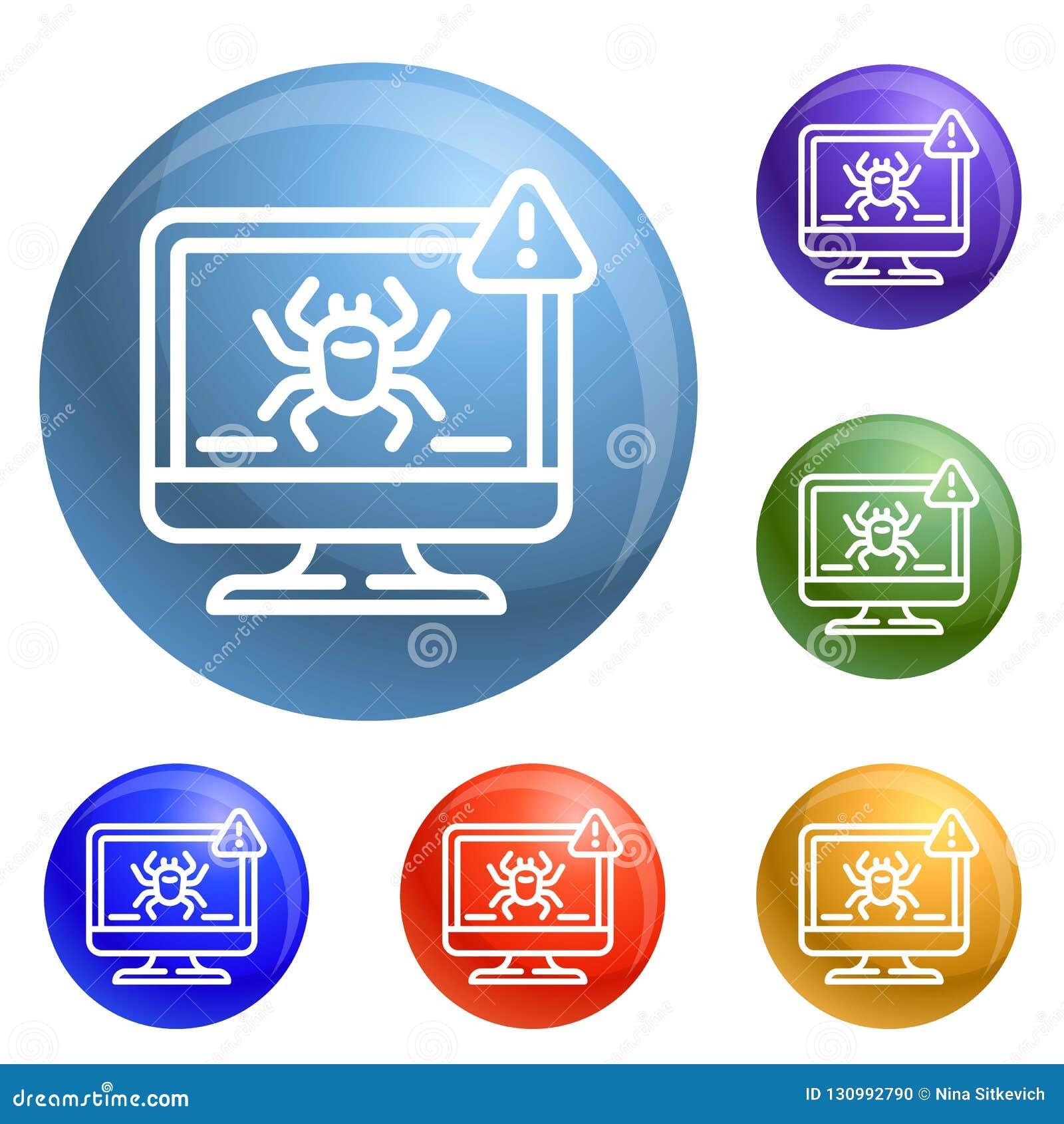 Computer Virus Detection Icons Set Vector Stock Vector