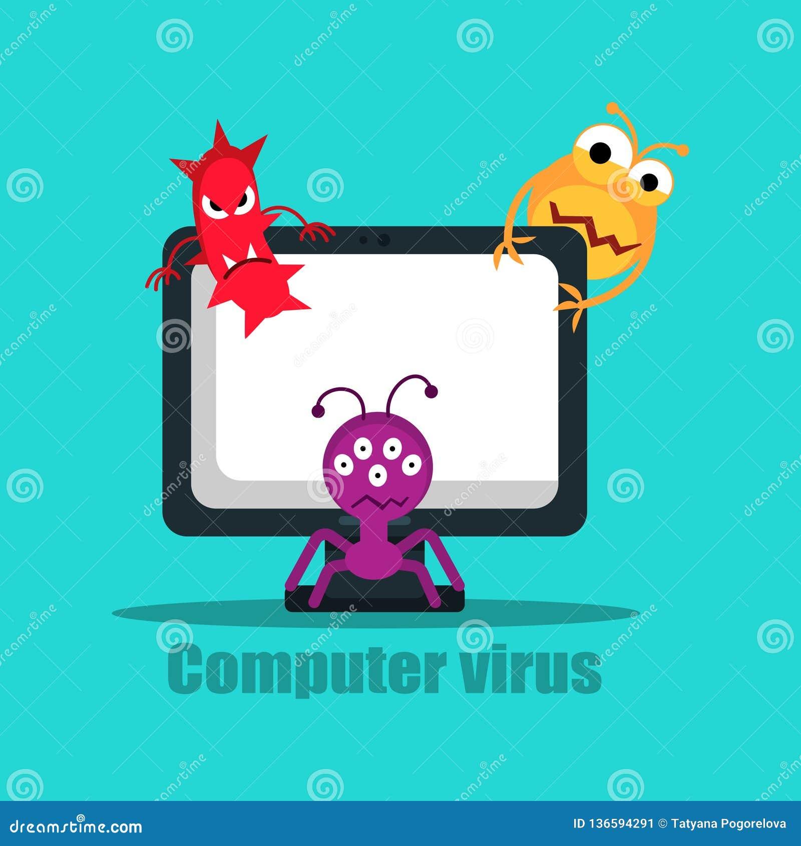 Computer Virus Internet Security Attack, Vector ...